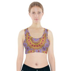Geometric Flower Oriental Ornament Sports Bra With Pocket by Celenk