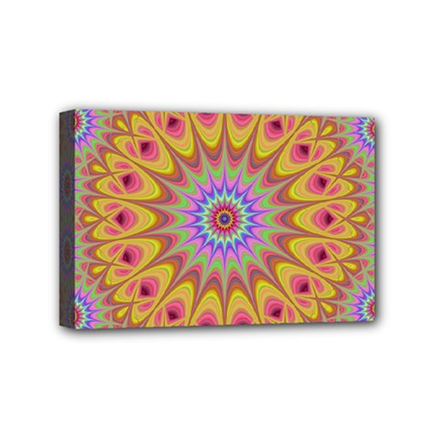 Geometric Flower Oriental Ornament Mini Canvas 6  X 4