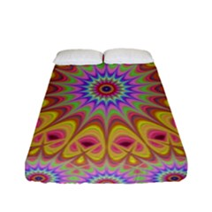Geometric Flower Oriental Ornament Fitted Sheet (full/ Double Size) by Celenk