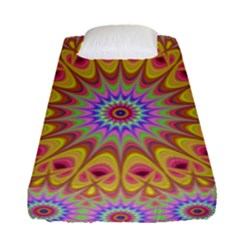 Geometric Flower Oriental Ornament Fitted Sheet (single Size) by Celenk