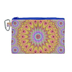 Geometric Flower Oriental Ornament Canvas Cosmetic Bag (large) by Celenk