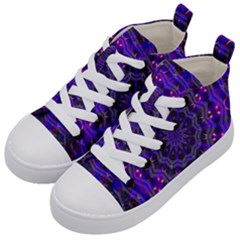 Purple Kaleidoscope Mandala Pattern Kid s Mid Top Canvas Sneakers by Celenk