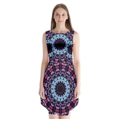 Kaleidoscope Shape Abstract Design Sleeveless Chiffon Dress