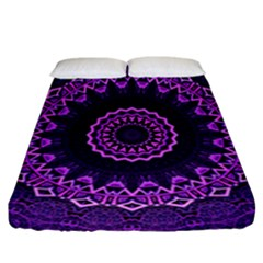 Mandala Purple Mandalas Balance Fitted Sheet (california King Size) by Celenk