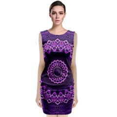 Mandala Purple Mandalas Balance Classic Sleeveless Midi Dress