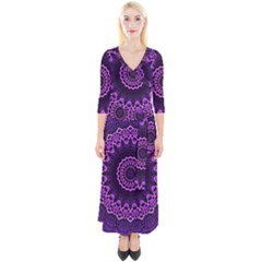 Mandala Purple Mandalas Balance Quarter Sleeve Wrap Maxi Dress
