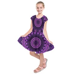 Mandala Purple Mandalas Balance Kids  Short Sleeve Dress by Celenk