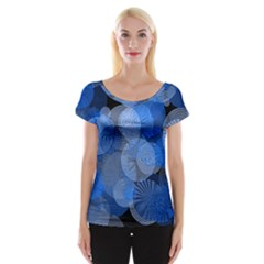 Circle Rings Abstract Optics Cap Sleeve Tops by Celenk