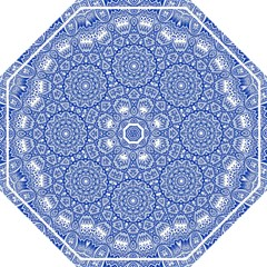 Blue Mandala Kaleidoscope Straight Umbrellas by Celenk