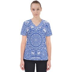 Blue Mandala Kaleidoscope Scrub Top