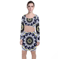 Mandala Geometric Design Pattern Long Sleeve Crop Top & Bodycon Skirt Set by Celenk
