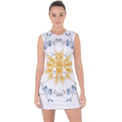 Mandala Mermaid Lake Rose Swimmers Lace Up Front Bodycon Dress