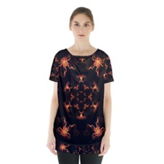 Mandala Fire Mandala Flames Design Skirt Hem Sports Top by Celenk