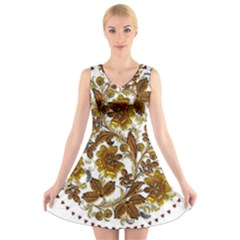 Mandala Metallizer Art Factory V Neck Sleeveless Skater Dress by Celenk