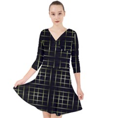 Background Texture Pattern Quarter Sleeve Front Wrap Dress