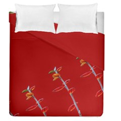 Red Background Paper Plants Duvet Cover Double Side (queen Size) by Celenk