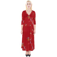 Red Background Paper Plants Quarter Sleeve Wrap Maxi Dress