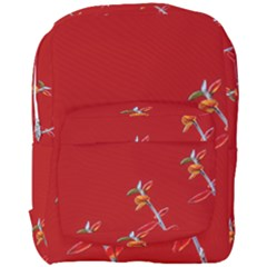 Red Background Paper Plants Full Print Backpack by Celenk