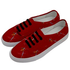 Red Background Paper Plants Men s Classic Low Top Sneakers by Celenk