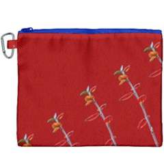 Red Background Paper Plants Canvas Cosmetic Bag (xxxl) by Celenk
