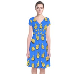 Emojis Hands Fingers Background Short Sleeve Front Wrap Dress