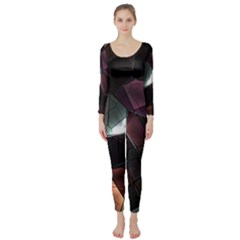 Crystals Background Design Luxury Long Sleeve Catsuit