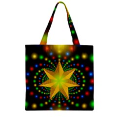 Christmas Star Fractal Symmetry Zipper Grocery Tote Bag