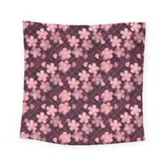 Cherry Blossoms Japanese Style Pink Square Tapestry (small) by Celenk