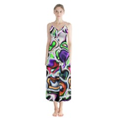 Background Texture Pattern Button Up Chiffon Maxi Dress by Celenk