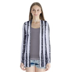 Row Trees Nature Birch Drape Collar Cardigan by Celenk