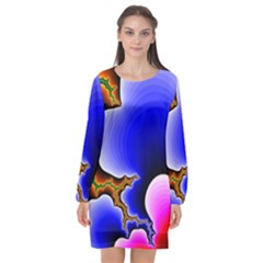 Fractal Background Pattern Color Long Sleeve Chiffon Shift Dress  by Celenk