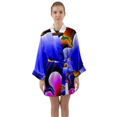 Fractal Background Pattern Color Long Sleeve Kimono Robe