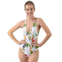 Juicy Currants Halter Cut Out One Piece Swimsuit by TKKdesignsCo
