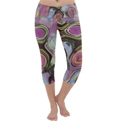 Retro Background Colorful Hippie Capri Yoga Leggings by Celenk