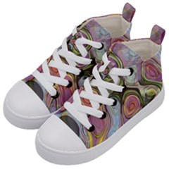Retro Background Colorful Hippie Kid s Mid Top Canvas Sneakers by Celenk