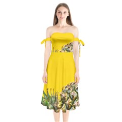 Pineapple Raw Sweet Tropical Food Shoulder Tie Bardot Midi Dress by Celenk