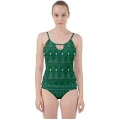 Christmas Tree Holiday Star Cut Out Top Tankini Set