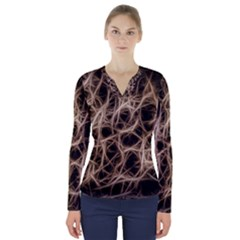 Structure Background Pattern V Neck Long Sleeve Top
