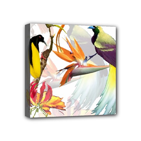 Exotic Birds Of Paradise And Flowers Watercolor Mini Canvas 4  X 4  by TKKdesignsCo