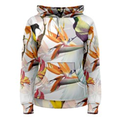 Exotic Birds Of Paradise And Flowers Watercolor Women s Pullover Hoodie