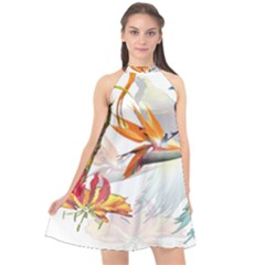 Exotic Birds Of Paradise And Flowers Watercolor Halter Neckline Chiffon Dress