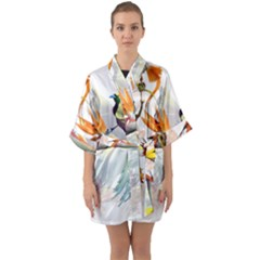 Exotic Birds Of Paradise And Flowers Watercolor Quarter Sleeve Kimono Robe by TKKdesignsCo