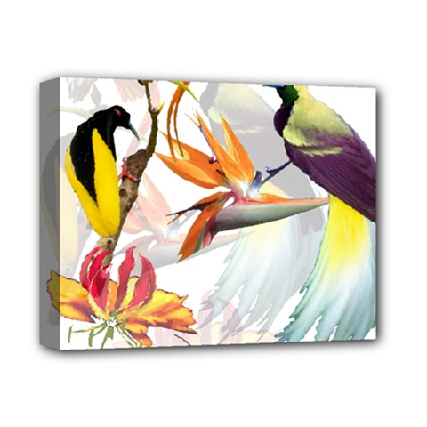 Exotic Birds Of Paradise And Flowers Watercolor Deluxe Canvas 14  X 11  by TKKdesignsCo