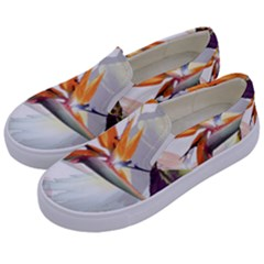 Exotic Birds Of Paradise And Flowers Watercolor Kids  Canvas Slip Ons by TKKdesignsCo