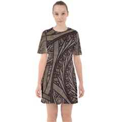 Abstract Pattern Graphics Sixties Short Sleeve Mini Dress by Celenk