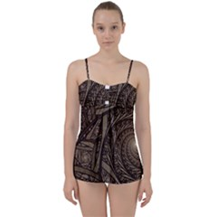 Abstract Pattern Graphics Babydoll Tankini Set