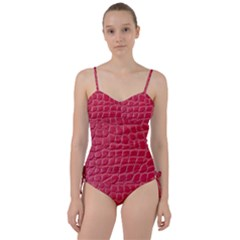 Textile Texture Spotted Fabric Sweetheart Tankini Set by Celenk