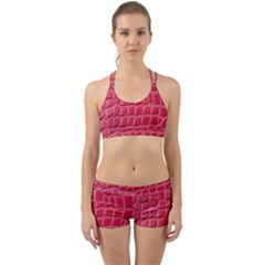 Textile Texture Spotted Fabric Back Web Sports Bra Set