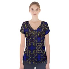 Background Texture Pattern Short Sleeve Front Detail Top by Celenk
