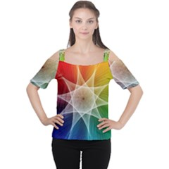 Abstract Star Pattern Structure Cutout Shoulder Tee
